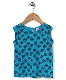 Sela Short Sleeves Top Floral - Peacock Blue