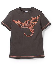 Sela Half Sleeves T-Shirt Pterodactyl Print - Brown