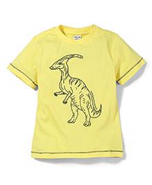Sela Half Sleeves T-Shirt Animal Print - Light Yellow