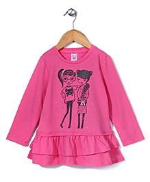 Sela Full Sleeves Dress Printed - Neon Pink