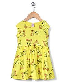 Sela Cap Sleeves Frock Rabbit And Bow Print - Blazing Yellow