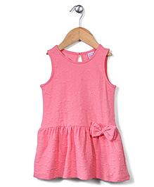 Sela Sleeveless Frock Bow Applique - Pink
