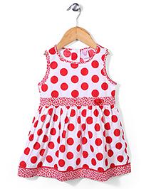 Sela Sleeveless Frock Polka Dot Print - Poppy Red