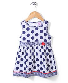 Sela Sleeveless Frock Polka Dot Print - Navy Blue