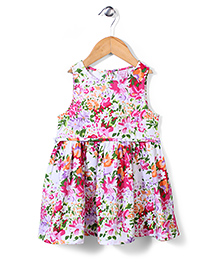 Sela Sleeveless Frock Floral Print - Multicolor