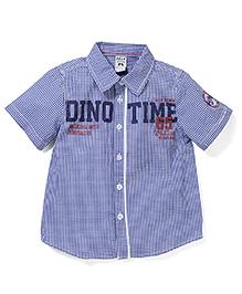 Sela Half Sleeves Check Shirt Dino Print - Blue