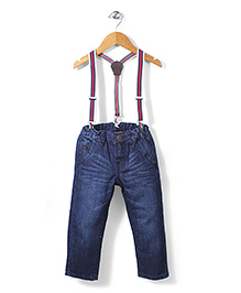 Sela Jeans With Suspenders - Dark Blue