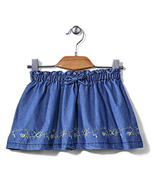 Sela Skirt Floral Embroidery - Denim Blue