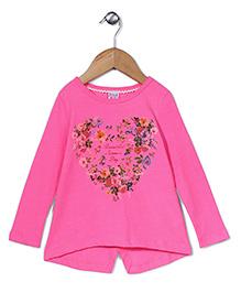 Sela Full Sleeves Top Floral Print - Pink