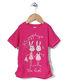 Sela Shorts Sleeves Top Shopping Print - Fuchsia