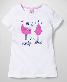 Sela Short Sleeves Top Bird Print - White