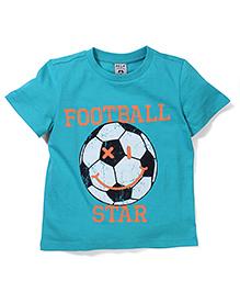 Sela Half Sleeves T-Shirt Football Print - Turquoise