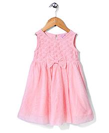 Sela Sleeveless Frock Bow Design - Light Pink