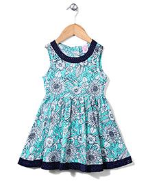 Sela Sleeveless Dress Floral Print - Turquoise
