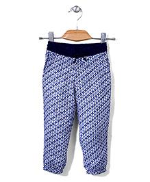 Sela Floral Print Leggings - Navy Blue