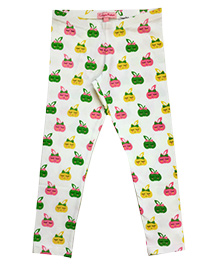 CrayonFlakes Smiley Apple Print Leggings - White