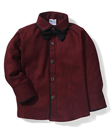 Babyhug Full Sleeves Party Wear Shirt With Bow - Red