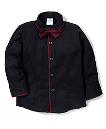 Babyhug Full Sleeves Party Wear Shirt With Bow - Black
