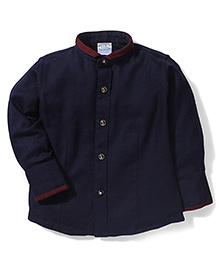 Babyhug Full Sleeves Party Wear Shirt - Navy Blue