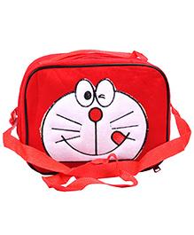 Doraemon Kids Tiffin Sling Bag With Insulation Fur Finish - Red