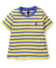 UCB Half Sleeves Stripe T-Shirt Logo Patch - Blue Yellow
