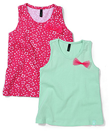 UCB Sleeveless Party Tops Bow Applique Pack of 2 - Sea Green Dark Pink