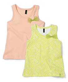 UCB Sleeveless Party Tops Bow Applique Pack of 2 - Green Peach