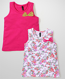 UCB Sleeveless Party Tops Bow Applique Pack of 2 - Fuchsia White