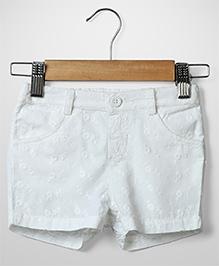 Beebay Schiffli Embroidery Shorts - White