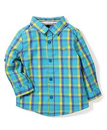 UCB Full Sleeves Check Shirt - Aqua Blue