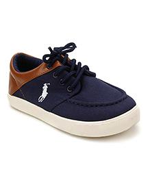 DingDingWa White Horse Riding Print Shoes - Navy Blue