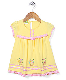 Babyhug Short Sleeves Floral Embroidered Frock - Yellow