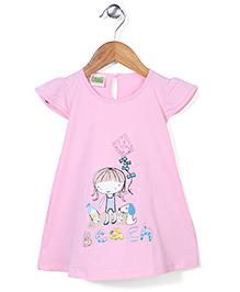 Babyhug Cap Sleeves Beach Print A-Line Frock - Pink