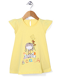 Babyhug Cap Sleeves Beach Print A-Line Frock - Yellow