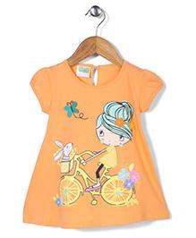 Babyhug Cap Sleeves Diva On Bicycle Print A Line Frock - Orange