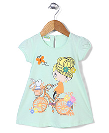 Babyhug Cap Sleeves Diva On Bicycle Print A Line Frock - Green