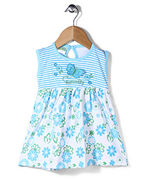 Babyhug Sleeveless Frock Butterfly Embroidery And Floral Print - White & Sky Blue