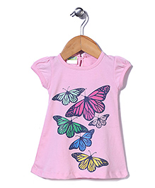 Babyhug Short Sleeves Top Butterfly Print - Pink