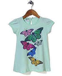 Babyhug Short Sleeves Top Butterfly Print - Green