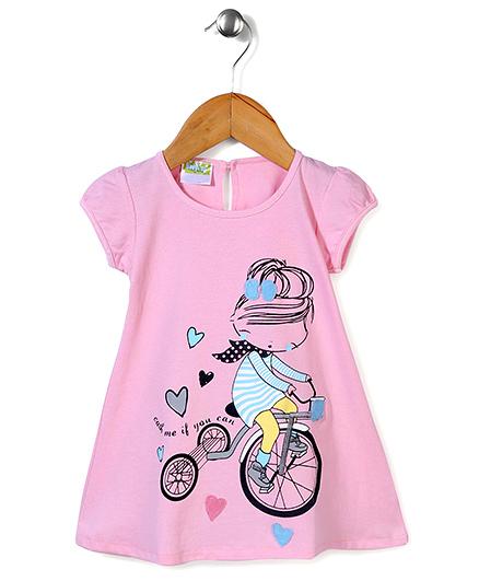 Babyhug Short Sleeves Diva Print A-Line Frock - Pink