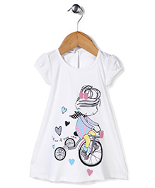 Babyhug Short Sleeves Diva Print A-Line Frock - White