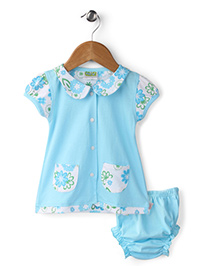 Babyhug Peter Pan Collar Frock With Bloomer Floral Print - Blue And White