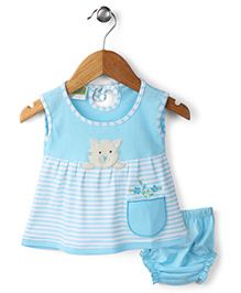 Babyhug Frock With Bloomer Kitty Patch - Sky Blue