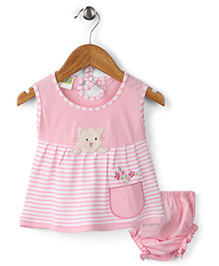 Babyhug Frock With Bloomer Kitty Patch - Pink
