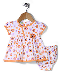 Babyhug Short Sleeves Frock With Bloomer Allover Floral Print - White & Orange