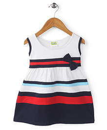 Babyhug Sleeveless Frock Bow Applique - White And Navy