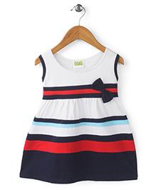Babyhug Sleeveless Frock Bow Applique - White And Navy