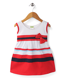 Babyhug Sleeveless Frock Bow Applique - White And Red