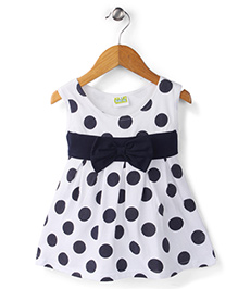 Babyhug Sleeveless Frock Polka Dots Print - White And Navy