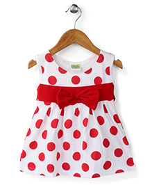 Babyhug Sleeveless Frock Polka Dots Print - White And Red
